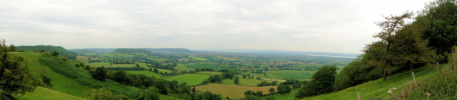 The view to Cam Long Down, Stinchcombe Hill and the Severn Estuary from Frocester Hill