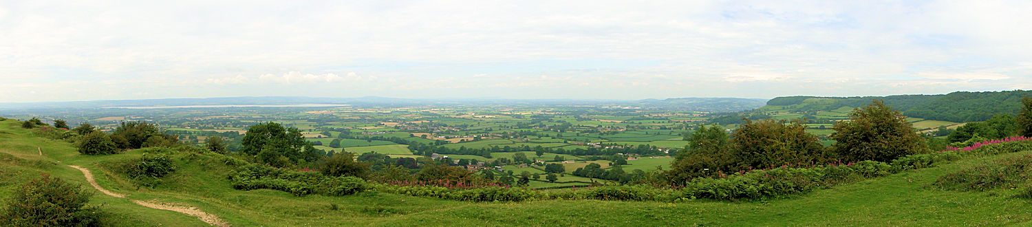 The view north from Cam Long Down to the Severn Estuary and Frocester Hill