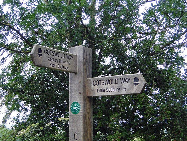 Signpost to the iron age hillfort in Little Sodbury