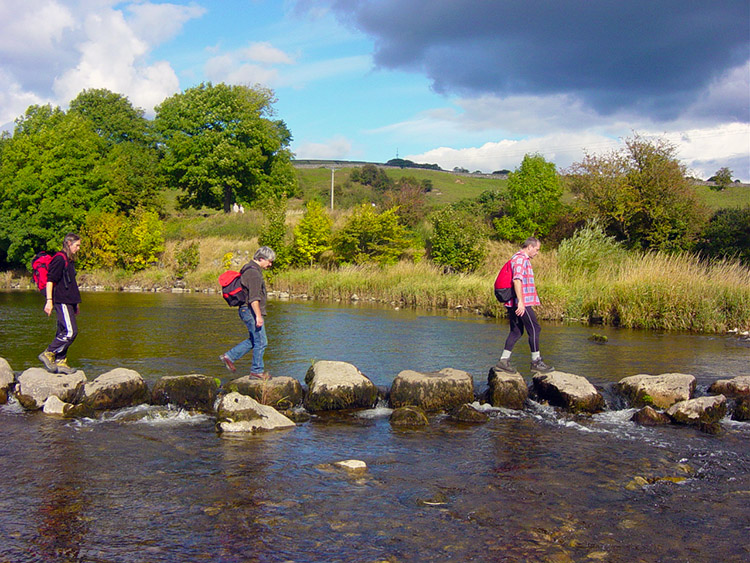 Stepping stones across the Wharfe at Linton