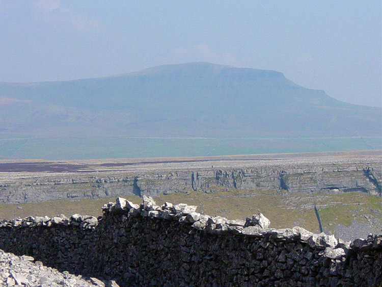 The view across Moughton Scars to Pen-y-ghent