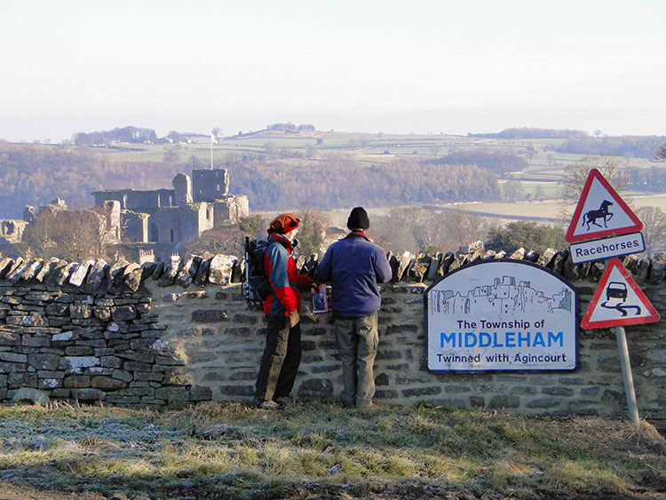 Looking back to Middleham Castle from the moor