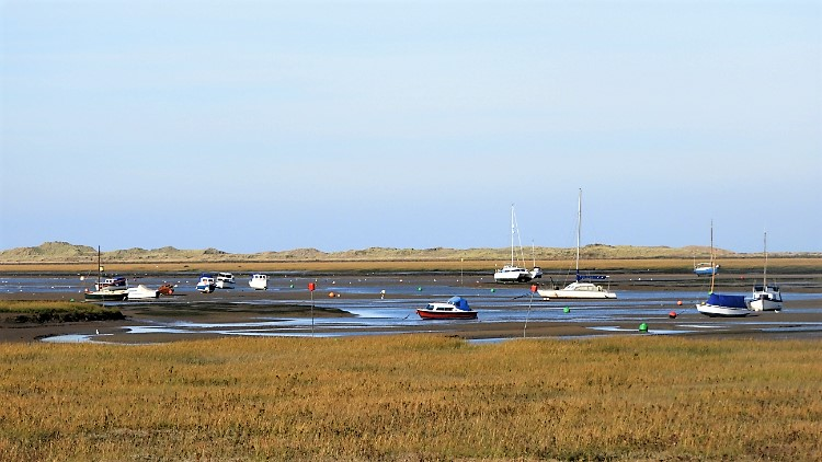 Boats moored in Blakeney Channel