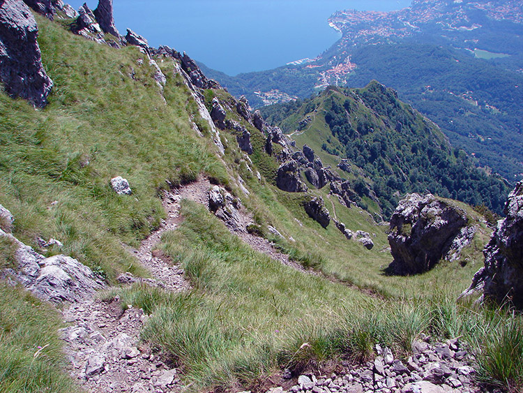Looking back down to the track from Pizzo Coppa