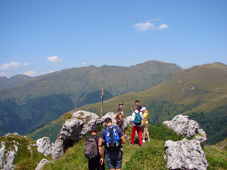 Hiking group at the Monte Grona Summit