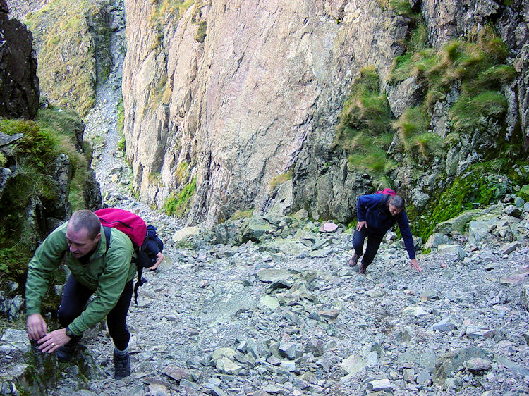 Scrambling up the scree in Lord's Rake