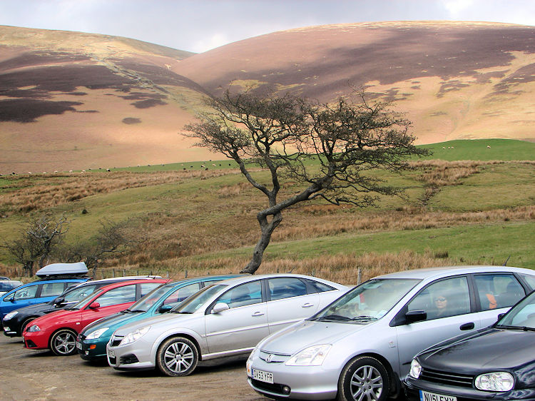 The busy car park near Latrigg