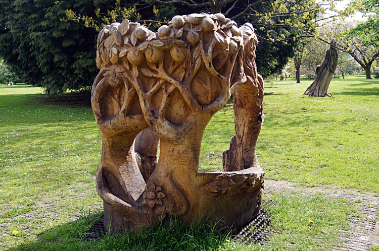 Wood sculpture in Bute Park