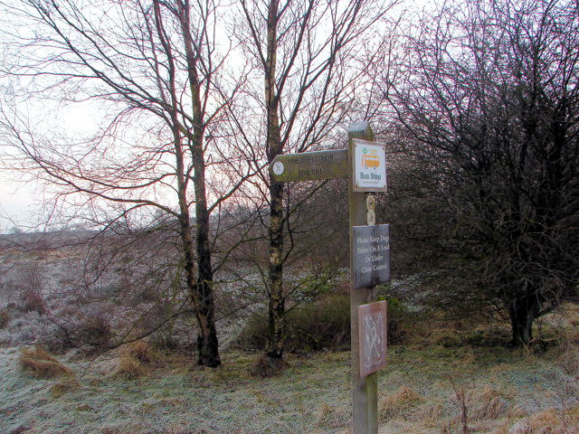 A signpost points the way from Brimham Rocks