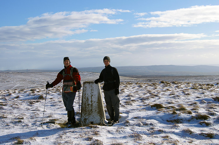 John and Sean at Meugher's trig point