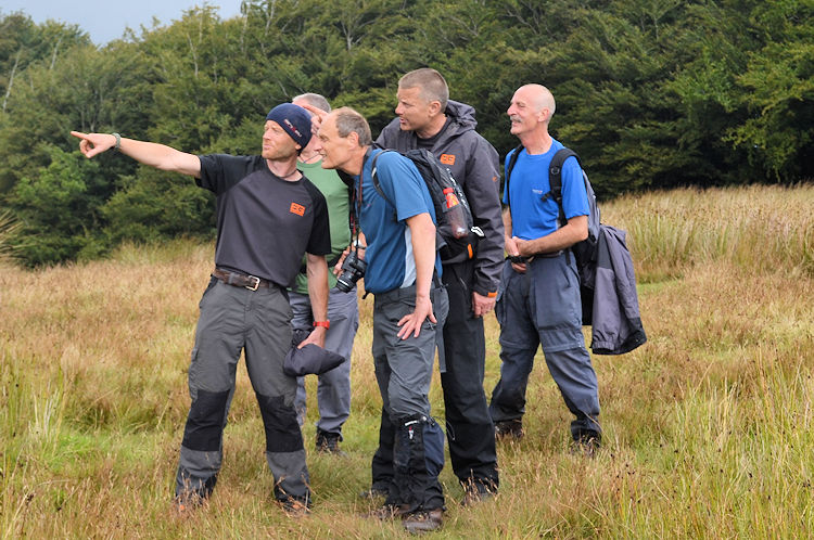 Pointing out Long Mynd and Stiperstones