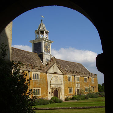 Nevill Holt stable block from the church porch