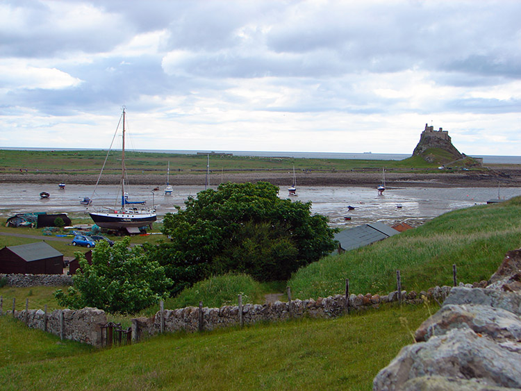 View to Holy Island Castle from the village