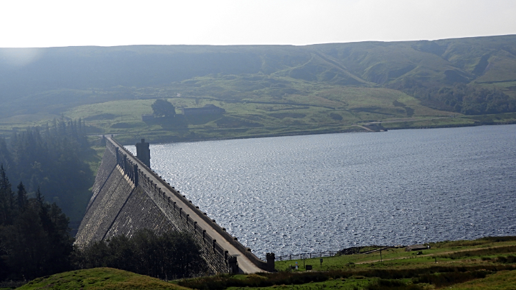 The impressive dam of Scar House Reservoir