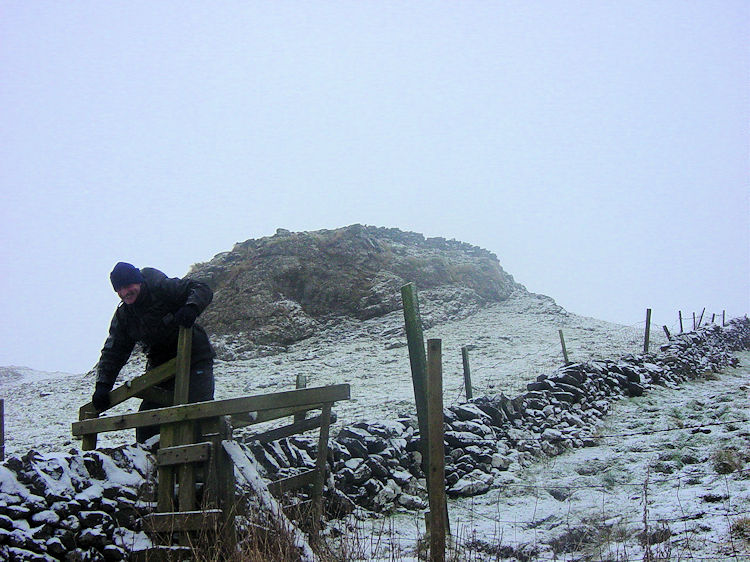 Rickety stile to access Chrome Hill
