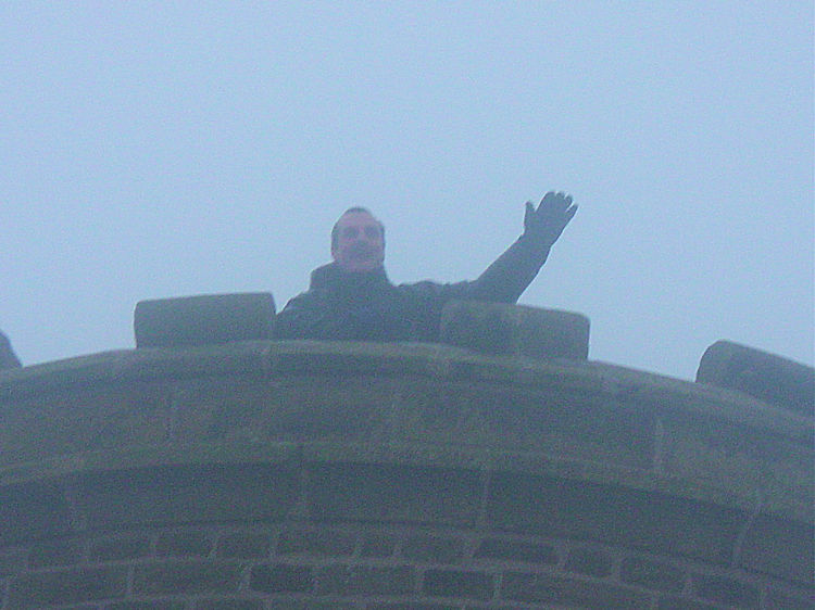 Steve waves from Grinlow Tower