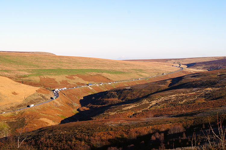 A628 traffic crossing the Woodhead Pass