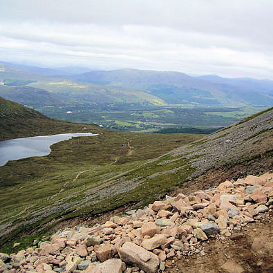 View from the slopes of Ben Nevis to the Great Glen