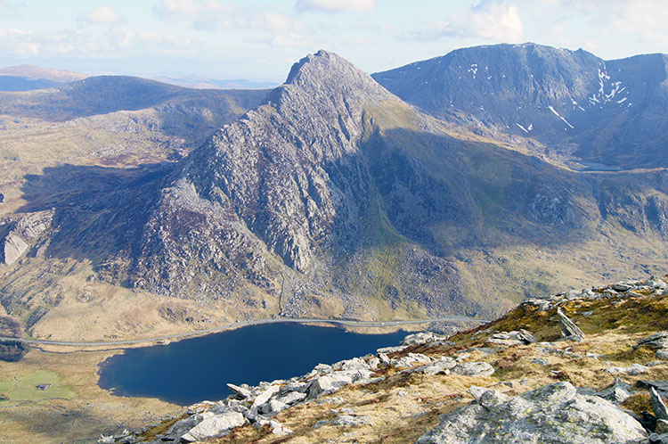 Looking down to Tryfan and Llyn Ogwen