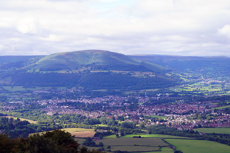 The view south-west to Abergavenny and Blorenge
