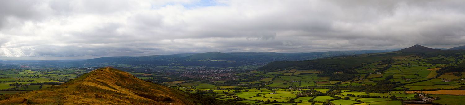 View from the Skirrid to Abergavenny, Blorenge and Sugar Loaf