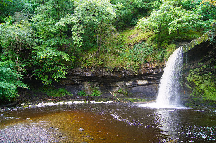 The waterfall I walked behind on Nedd Fechan