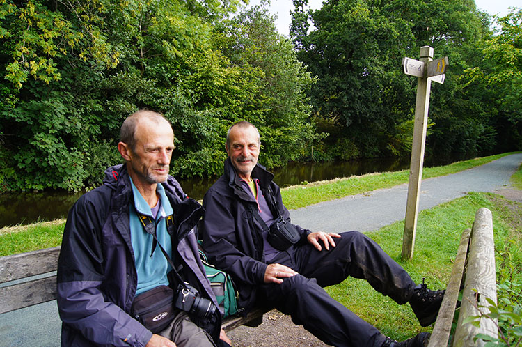 Thoughtful Dave and Steve relax by the towpath