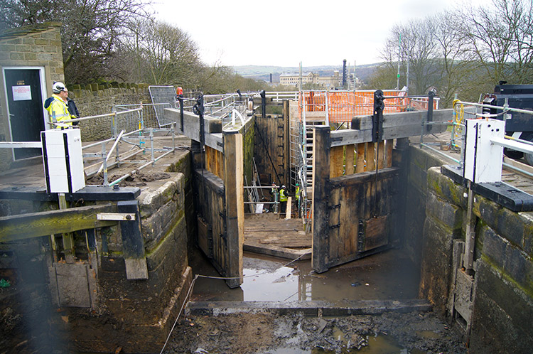 Bingley Five Rise Lock's undergoing maintenance