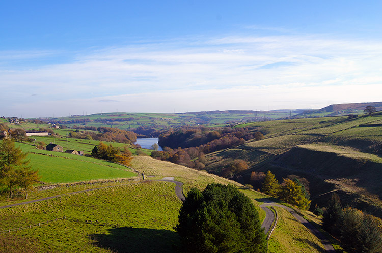 Looking from Baitings Reservoir to Ryburn Reservoir