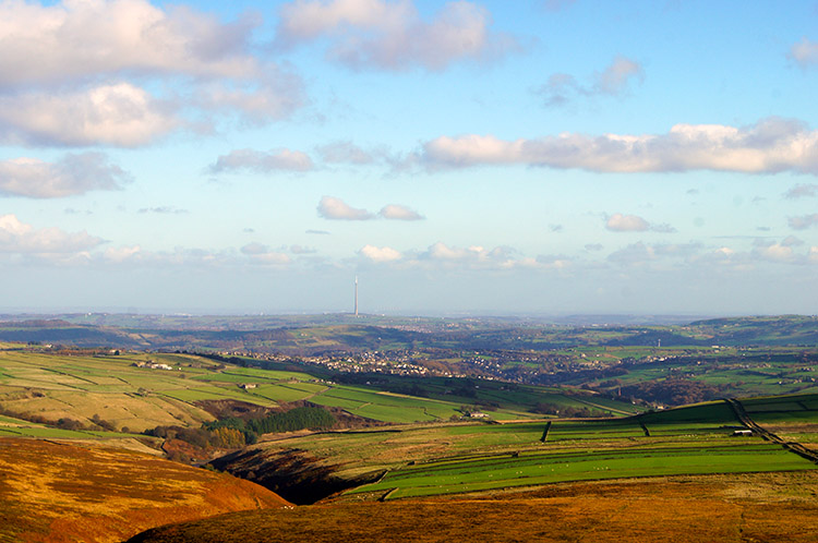 View down the Holme Valley from Black Hill