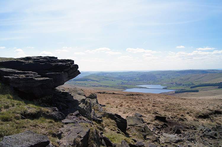 View from Northern Rotcher to the Castleshaw Reservoirs