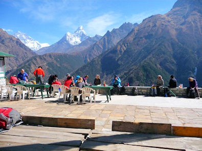 Lemonade break with view of Ama Dablam and Everest