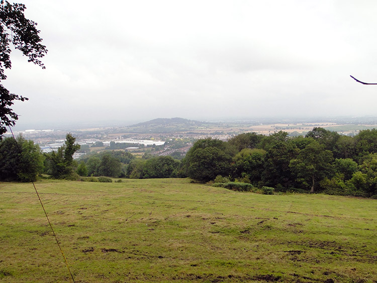 A woodland opening provides views to Churchdown Hill