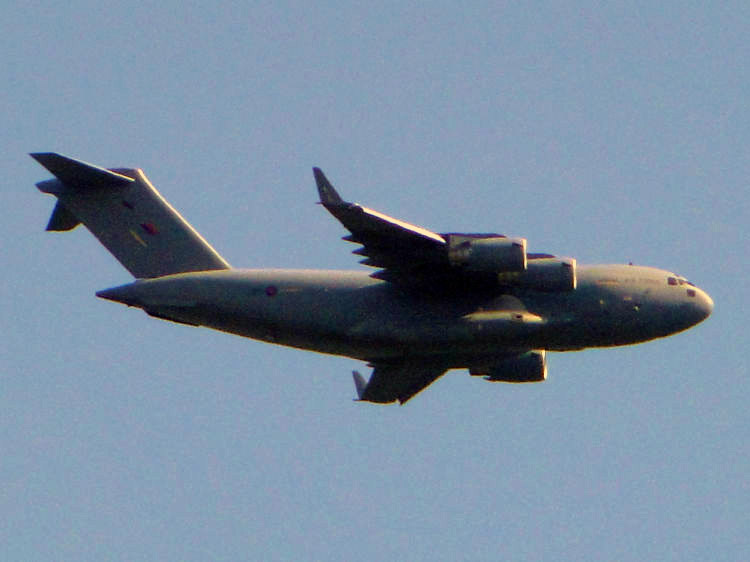 C-17 Globemaster transport aircraft over Haresfield Beacon
