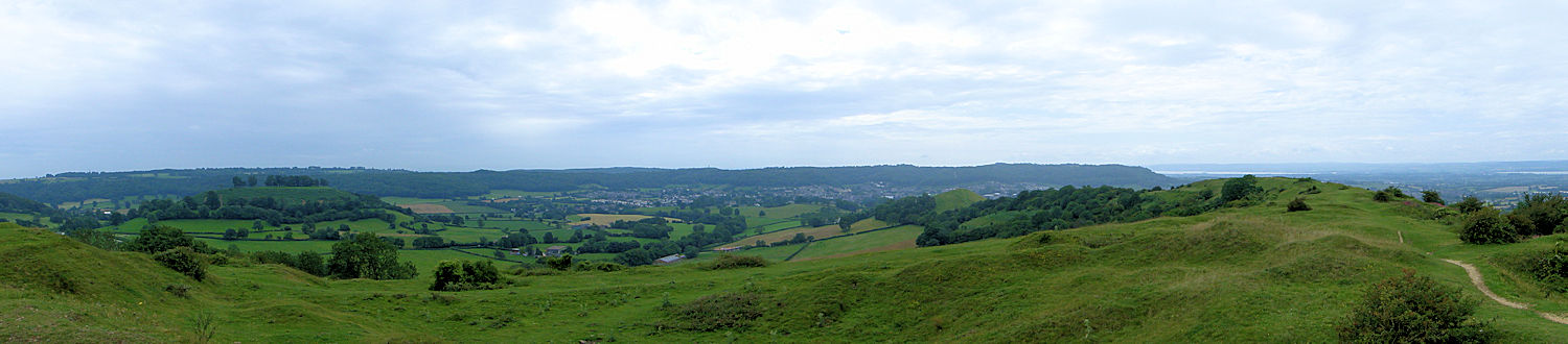 The view west from Cam Long Down across Dursley to Stinchcombe Hill