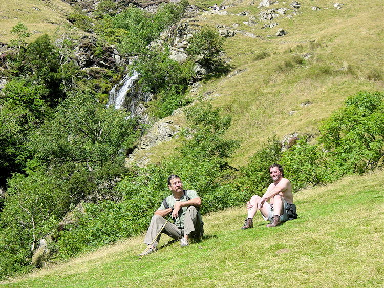 Relaxing in the sunshine near Cautley Spout