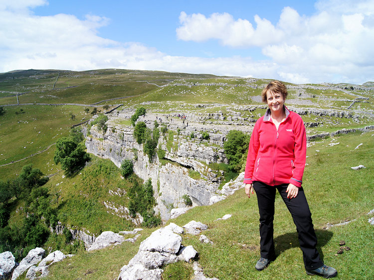 My wife Lil enjoying a day at Malham Cove