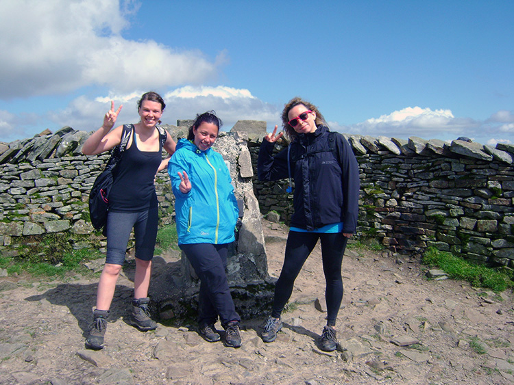 Celebrating at the trig pillar