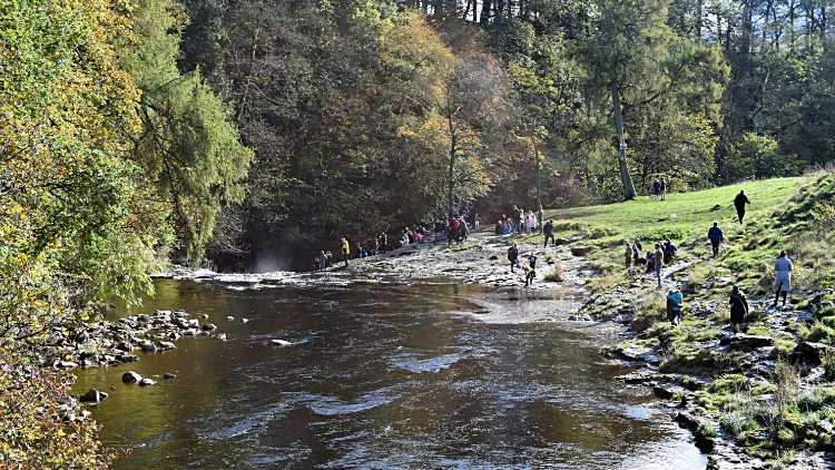 Crowds enjoying the scenery at Stainforth Force