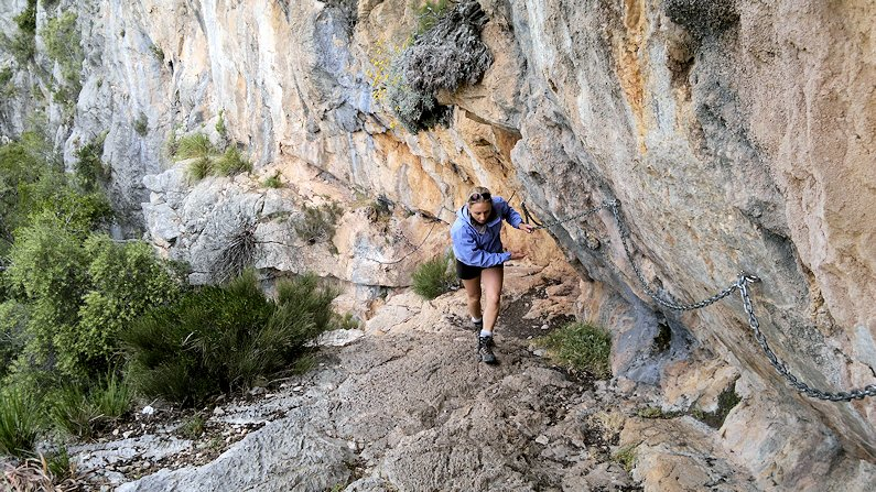 A section of Via Ferrata in the Mallorca mountains