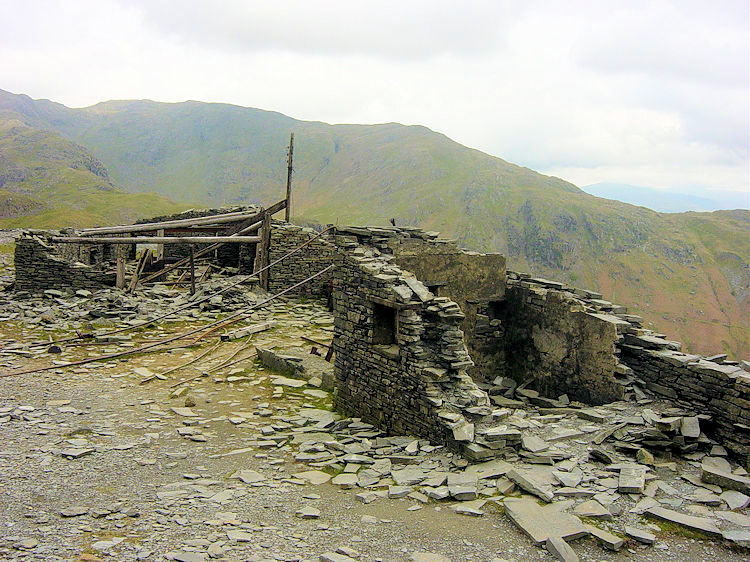 Derelict quarry buildings at Colt Crag