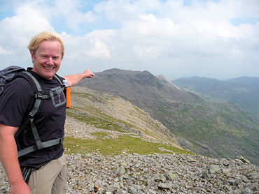 Neal points the way home from Scafell