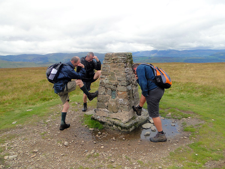 Striking a pose at the Loadpot Hill trig point