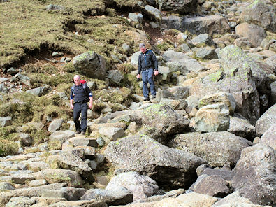 John and Steve on Stickle Ghyll path in sunshine!