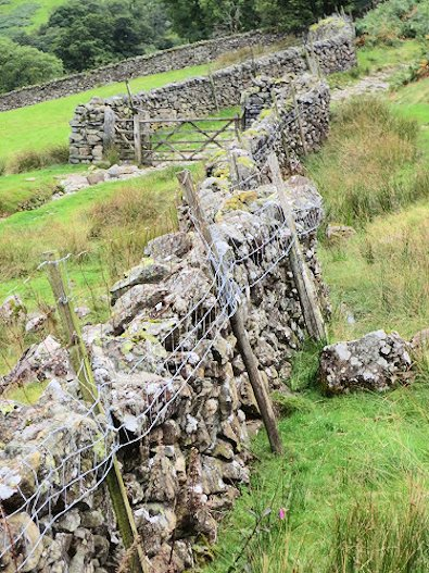 Stone walls and gates on Borrowdale Terrace