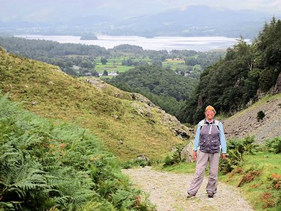 Di on the old toll road towards Derwent Water