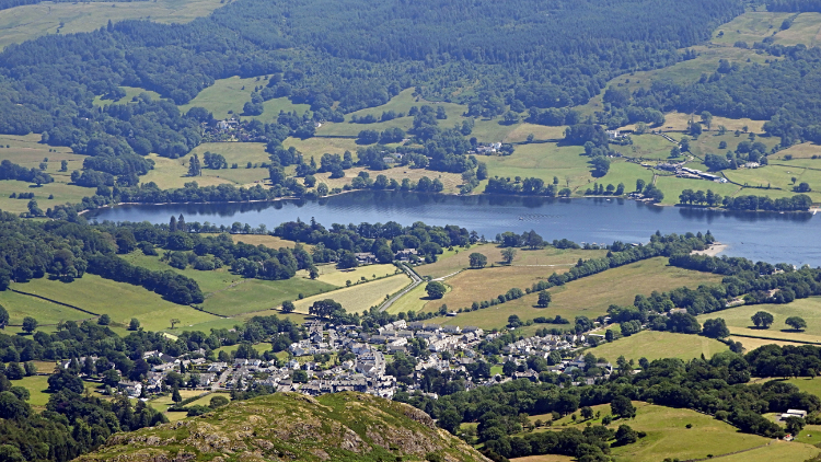 View from the Old Man to Coniston village and Water