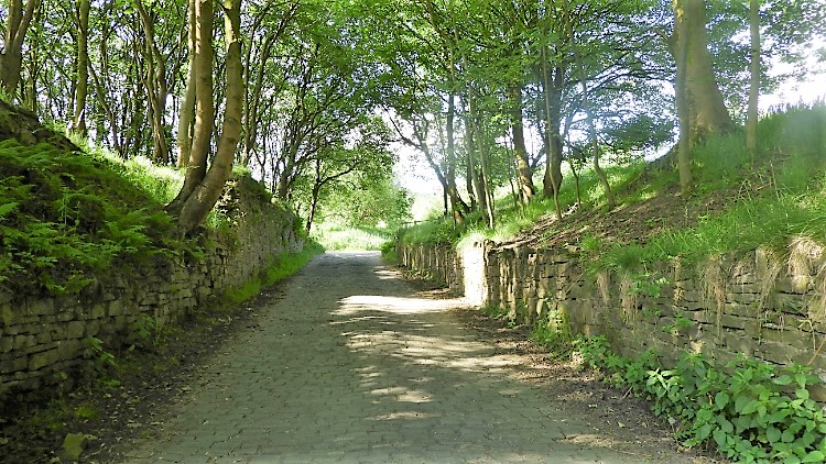 Climbing the lane to Cowpe Lowe
