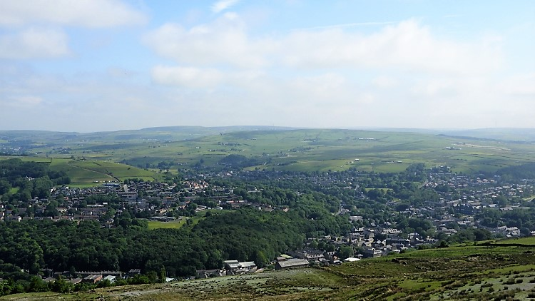 View from Cowpe Lowe to Rossendale