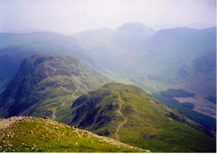 Looking down from High Crag to Seat and Haystacks